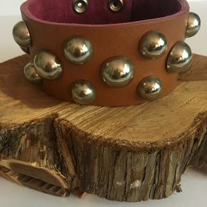 Brown Leather Stud Cuff Bracelet
